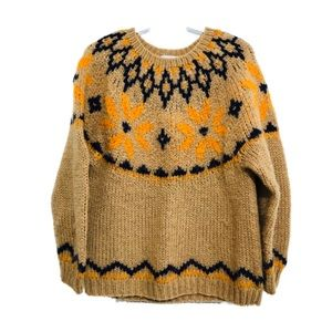 Vintage Oversized Hand Knit Sweater Daisies Tan M